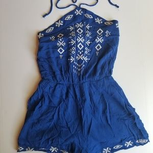 Xhilaration Halter Top Blue Embroidered Romper XS